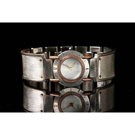 Eduardo Milieris Full Moon Art Watch: Small Silver Brushed Trim on Wide Band