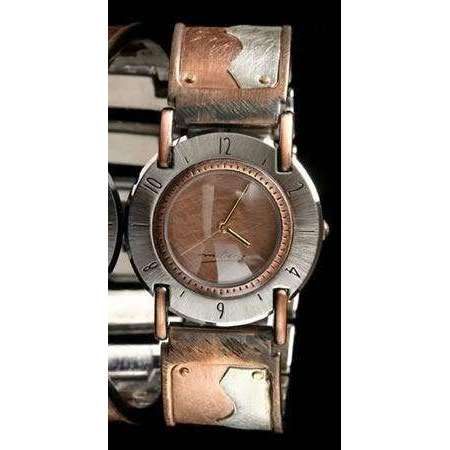 Eduardo Milieris Full Moon Modern Watch: Copper & Silver Wave Design on Wide Band
