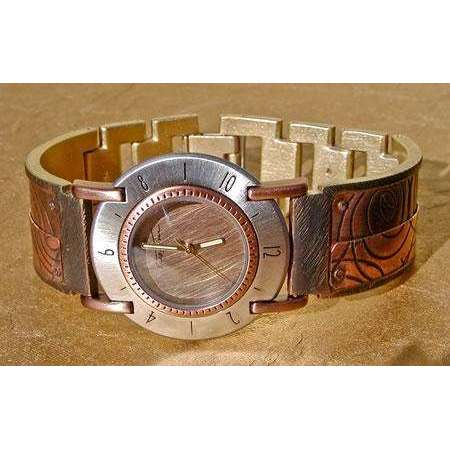 Eduardo Milieris Full Moon Watch: Large Copper Overlap Spiral Design on Wide Band