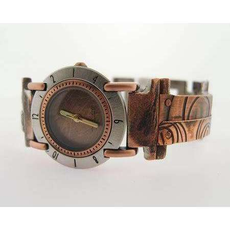 Eduardo Milieris Full Moon Watch: Small Copper Overlap Spiral Design on Narrow Band