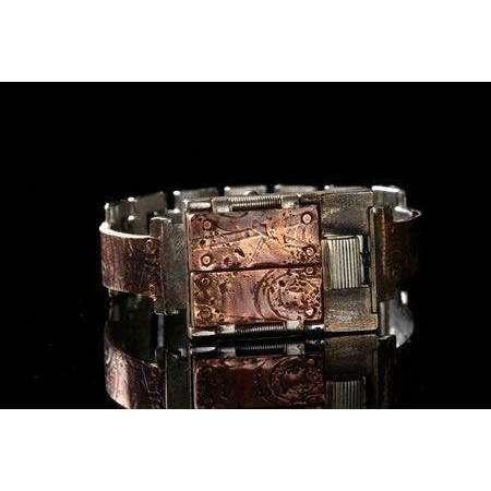 Eduardo Milieris Gates of Time Watch: Copper Spirals & Stripes on Narrow Band