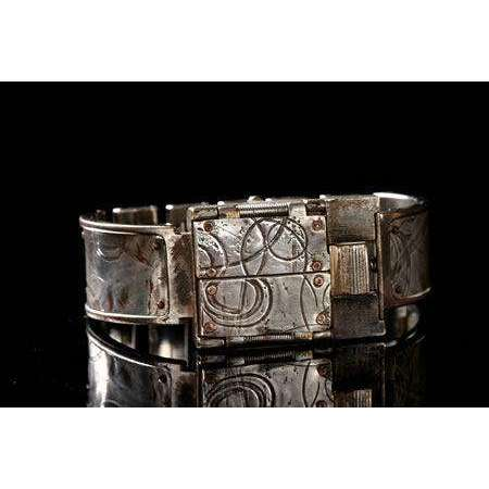 Eduardo Milieris Gates of Time Watch: Silver Spirals & Stripes on Wide Band