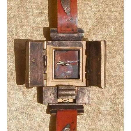 Eduardo Milieris Gates of Time Watch: Triple Fired Copper Trim on Narrow Band
