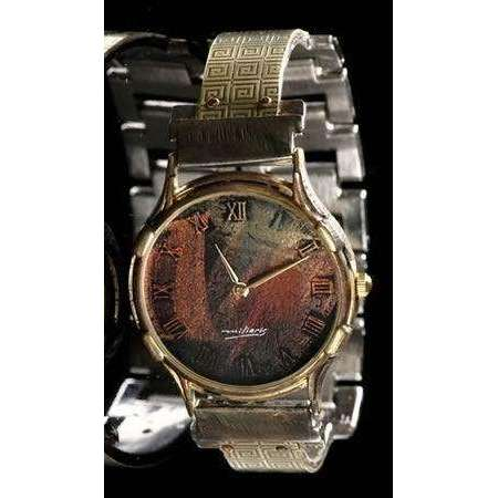 Eduardo Milieris Minstrel Watch: Large Brass Greek Design on Narrow Band