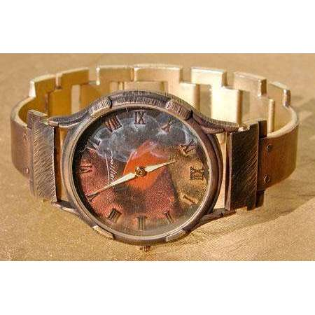 Eduardo Milieris Minstrel Watch: Large Copper Trim on Narrow Band