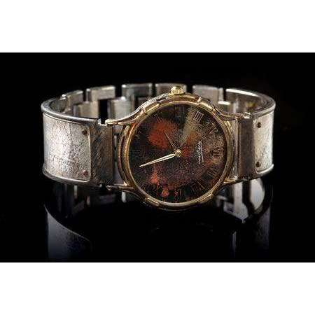 Eduardo Milieris Minstrel Watch: Large Silver Textured Design on Wide Band