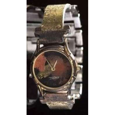 Eduardo Milieris Minstrel Watch: Small Brass Concrete Engraving on Narrow Band