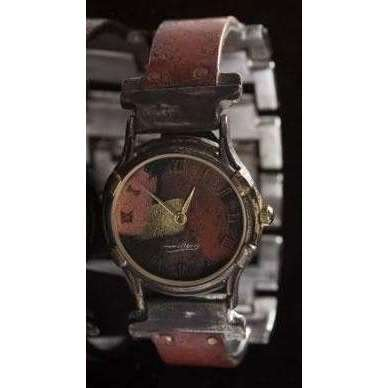 Eduardo Milieris Minstrel Watch: Small Copper Concrete Engraving on Narrow Band