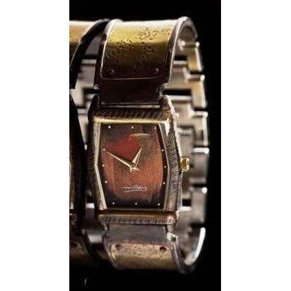 Eduardo Milieris Montevideo Watch: Brass Concrete Engraving on Wide Band