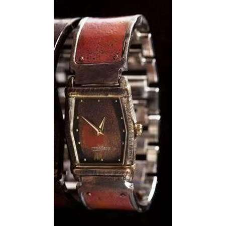Eduardo Milieris Montevideo Watch: Copper Concrete Engraving on Wide Band