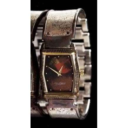 Eduardo Milieris Montevideo Watch: Silver Concrete Engraving on Wide Band