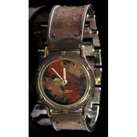 Eduardo Milieris Porthole Watch: Large Copper Leaves Design on Wide Band