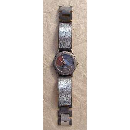Eduardo Milieris Porthole Watch: Large Silver Leaves Design on Wide Band