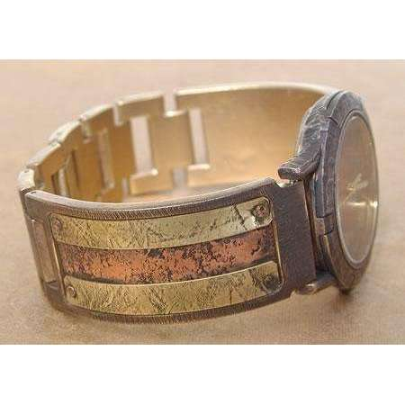 Eduardo Milieris Porthole Watch: Small Brass Textured with Copper Design on Narrow Band