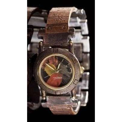 Eduardo Milieris Porthole Watch: Small Copper Stripes Design on Narrow Band