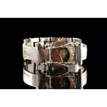 Eduardo Milieris Porthole Watch: Small Silver Trim and Vintage Bits on Narrow Band with Silver Wire
