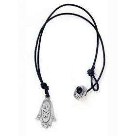 Emily Rosenfeld Beautiful Pewter Hamsa Pendant on Leather