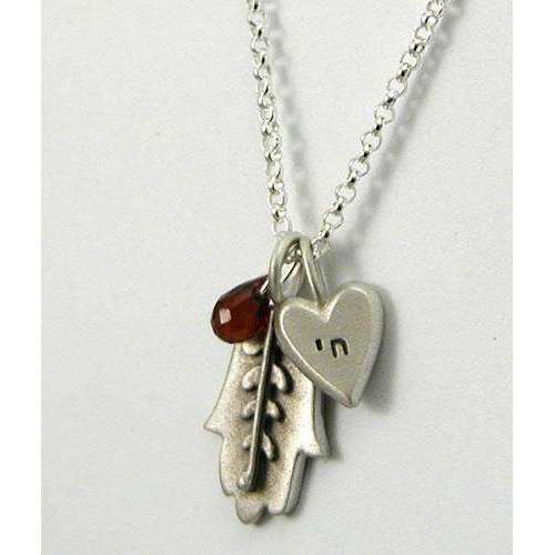 Emily Rosenfeld Hamsa Necklace with Chai Heart Charm and Dangling Garnet