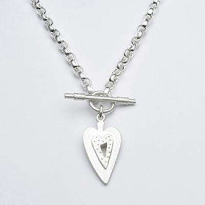 Emily Rosenfeld Sterling Silver Elongated Heart Toggle Necklace