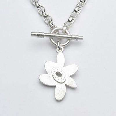 Emily Rosenfeld Sterling Silver Flower Toggle Necklace