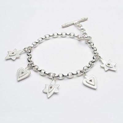 Emily Rosenfeld Sterling Silver Heart and Star of David Multi-Charm Bracelet