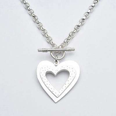 Emily Rosenfeld Sterling Silver Heart Toggle Necklace