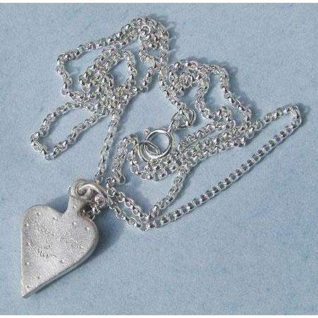 Emily Rosenfeld Sterling Silver Heart with Shin Necklace