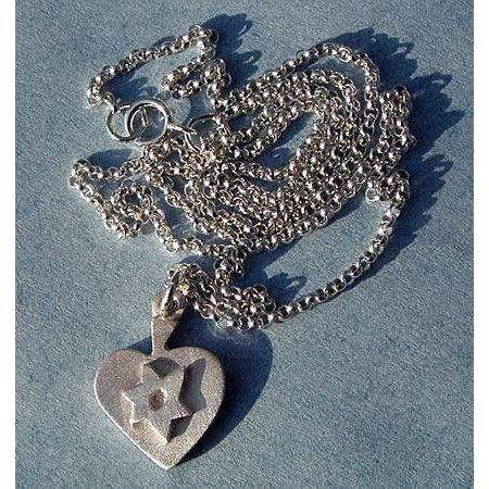 Emily Rosenfeld Sterling Silver Heart with Star of David Necklace
