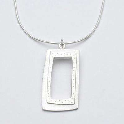 Emily Rosenfeld Sterling Silver Open Rectangle Necklace