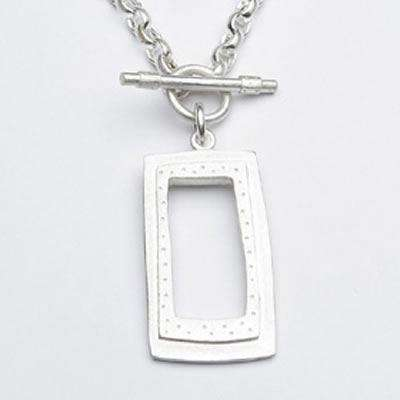 Emily Rosenfeld Sterling Silver Rectangle Toggle Necklace