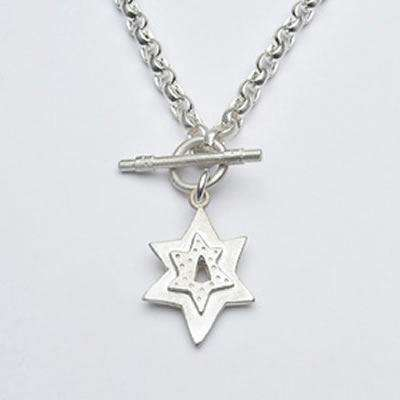 Emily Rosenfeld Sterling Silver Star of David Toggle Necklace
