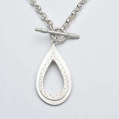 Emily Rosenfeld Sterling Silver Teardrop Toggle Necklace
