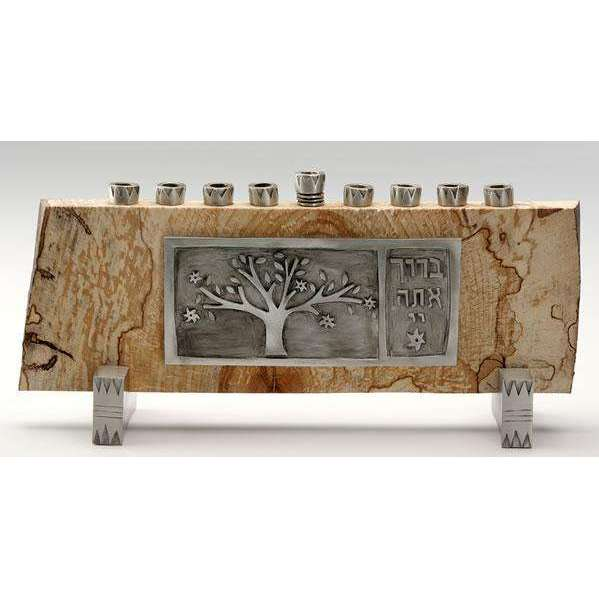 Emily Rosenfeld Tree of Life Spalted Maple and Pewter Menorah