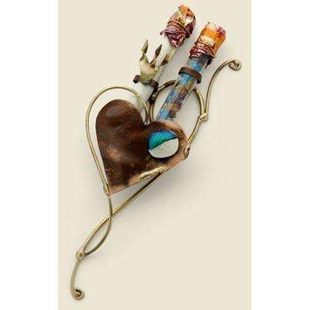 Gary Rosenthal Broken Wedding Glass Collection Heart Mezuzah with Double Tube