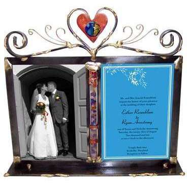 Gary Rosenthal Double 5x7 Wedding Photo Frame with Shards Keepsake