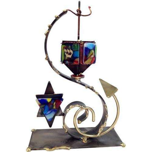 Gary Rosenthal Double Curved Dreidel With Star of David
