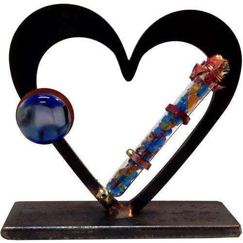 Gary Rosenthal Heart Sculpture With Wedding Glass Tube