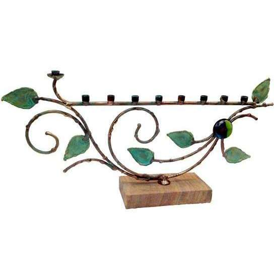 Gary Rosenthal Large Patina Vine Menorah With Glass Bead