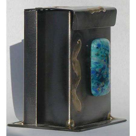 Gary Rosenthal Metal and Blue Glass Tzedakah Box