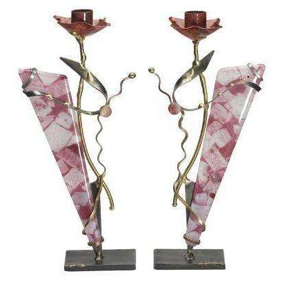 Gary Rosenthal Pink Glass Sabbath Candlesticks