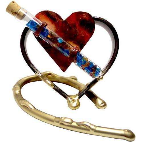Gary Rosenthal Small Keepsake Heart Sculpture With Wedding Glass Tube