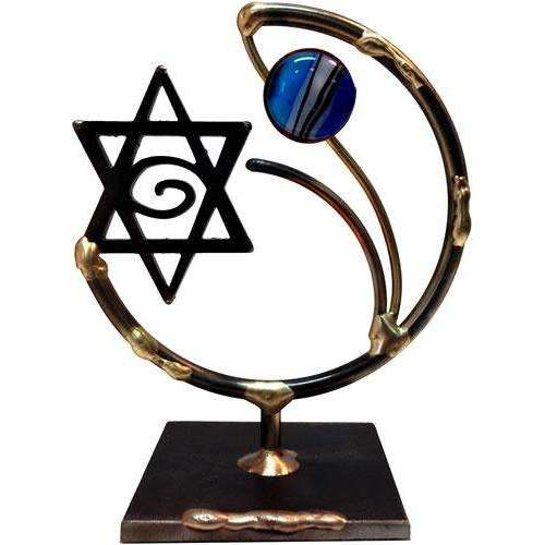 Gary Rosenthal Star of David Sculpture With Glass Bead