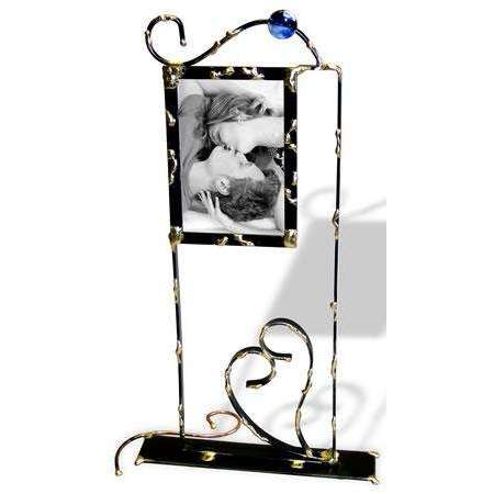 Gary Rosenthal Tall 4x6 Picture Frame With Heart And Glass Bead