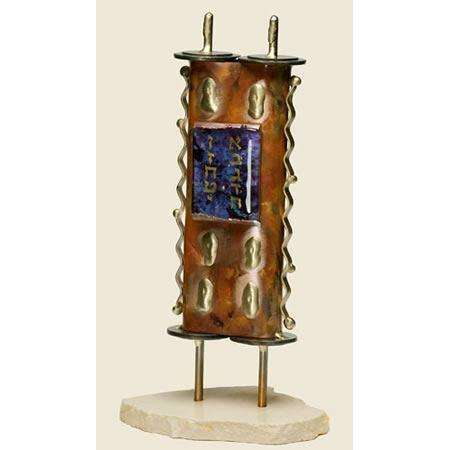 Gary Rosenthal Torah Sculpture in Copper and Glass