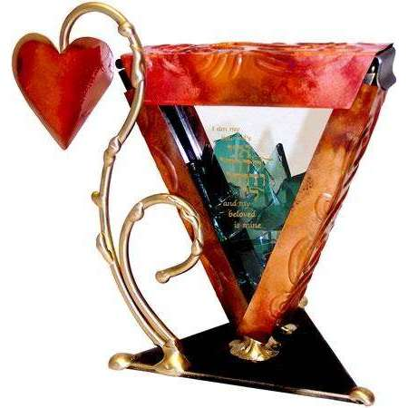 Gary Rosenthal Wedding Glass Holder with 'I Am My Beloved's and My Beloved is Mine'