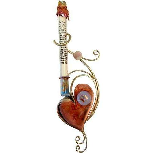 Gary Rosenthal Wedding Glass Mezuzah With Copper Heart