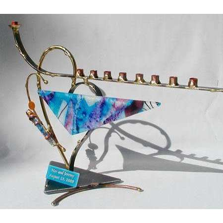 Gary Rosenthal Wedding Glass Triangle and Heart Menorah Blues