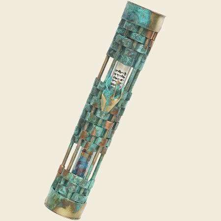 Gary Rosenthal Woven Mezuzot: Copper Wedding Mezuzah (Patina)