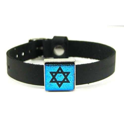 Glimmer Glass Brilliant Blue Star of David Bracelet On Leather Band