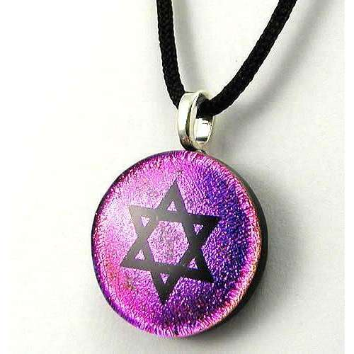 Glimmer Glass Star of David Necklace on Glittering Pink Glass